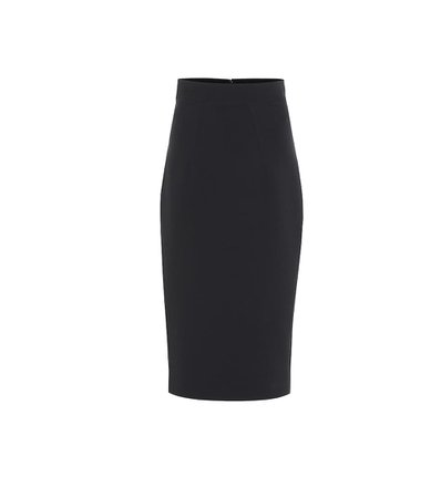Hokoku crêpe pencil black skirt
