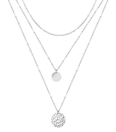 Amazon.com: Dainty Layered Necklace Hammered Disc Pendant Necklace Coin Necklace Choker Necklace 14K Real Gold Plated Necklace Simple Necklace for Women: Jd Direct