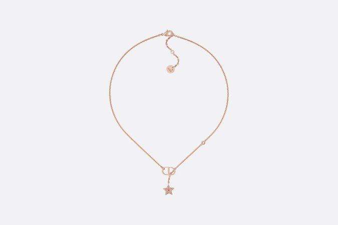 Pink Crystal Petit CD Rose Gold-Finish Necklace - Fashion Jewelry - Women's Fashion | DIOR