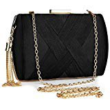 Women's Elegant Tassel Pendant Silk Evening Bag Clutch Purse for Bride Wedding Prom Night Out Party (BLACK): Handbags: Amazon.com