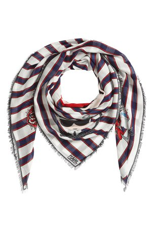 Captain Karl Striped Scarf with Silk Gr. One Size