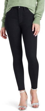 Stiletto High Waist Fray Hem Ankle Jeans