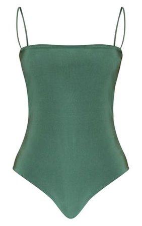 Emerald Slinky Spaghetti Strap Bodysuit | PrettyLittleThing