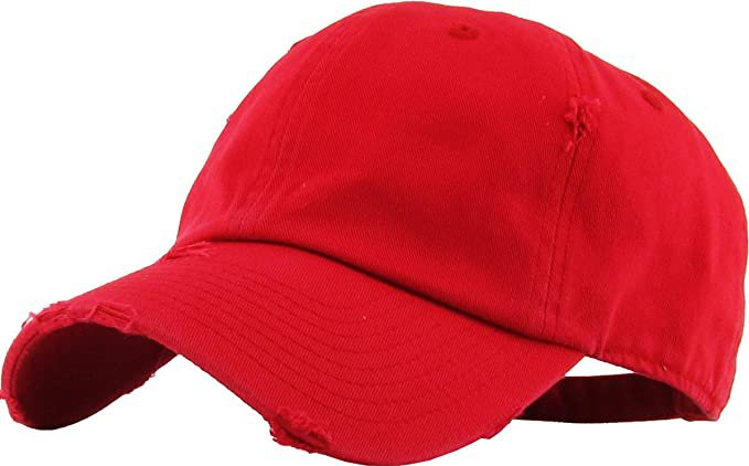 *clipped by @luci-her* KBE-Vintage BDM Vintage Washed Cotton Dad Hat Baseball Cap Polo Style Red: Clothing