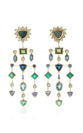 18K Gold Multi-Stone Earrings by Djaya Levy | Moda Operandi