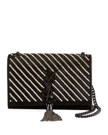 Saint Laurent Kate Small YSL Monogram Tassel Crossbody Bag with Crystal Stripes