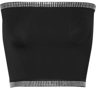 Adam Selman Sport - Crystal-embellished Stretch Bustier Top - Black