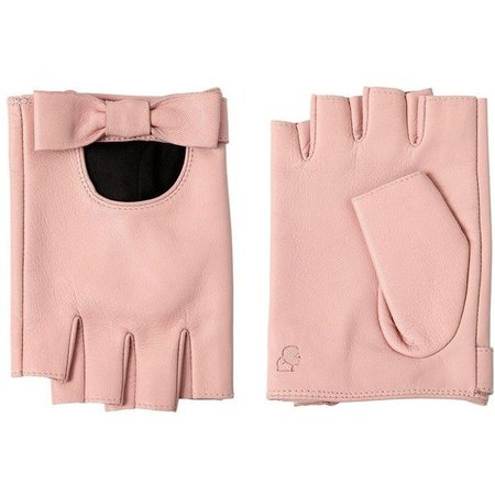 Pink Leather Fingerless Gloves