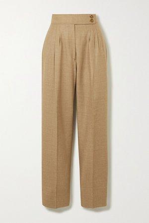 Beige Wool-blend twill straight-leg pants | Burberry | NET-A-PORTER