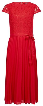Red Lace Pleat Midi Dress