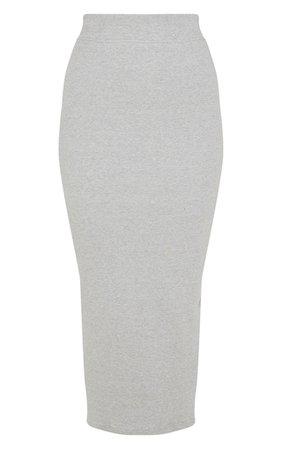 Grey Heavy Rib Bodycon Maxi Skirt | Skirts | PrettyLittleThing USA