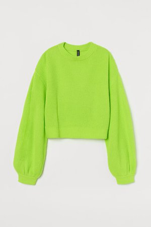Balloon-sleeved Sweater - Neon green - Ladies | H&M US