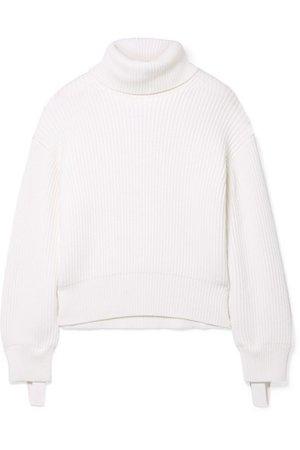 Helmut Lang | Canvas-trimmed ribbed wool and cotton-blend turtleneck sweater | NET-A-PORTER.COM