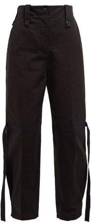 Flamme Strap Cotton Cargo Trousers - Womens - Black