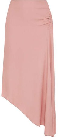 Les Héroïnes - The J.k Asymmetric Gathered Washed-crepe Skirt - Pink