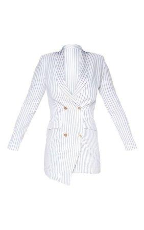 White Pinstripe Gold Button Blazer Dress | PrettyLittleThing