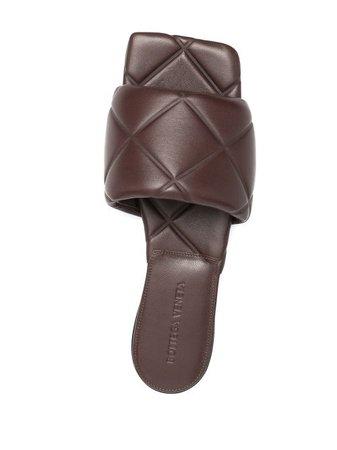Shop brown Bottega Veneta BV Lido flat sandals with Express Delivery - Farfetch