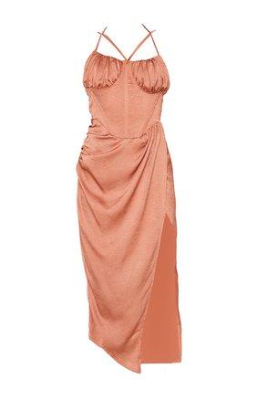 Rust Satin Strappy Detail Wrap Skirt Midi Dress | PrettyLittleThing USA