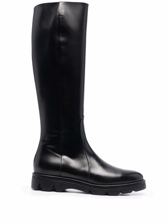 Santoni Polished Leather knee-high Boots - Farfetch