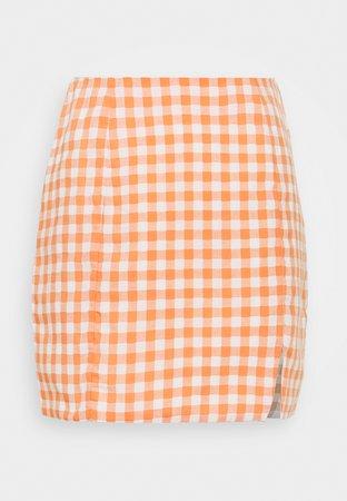 Glamorous PALOMA GINGHAM MINI SKIRT - Mini skirts - orange gingham - Zalando.dk