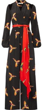 Cutout Belted Printed Silk Crepe De Chine Jumpsuit - Black