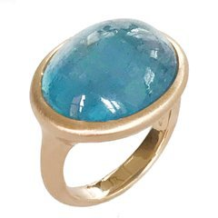 Dalben Big Aquamarine Rose Gold Ring For Sale at 1stdibs