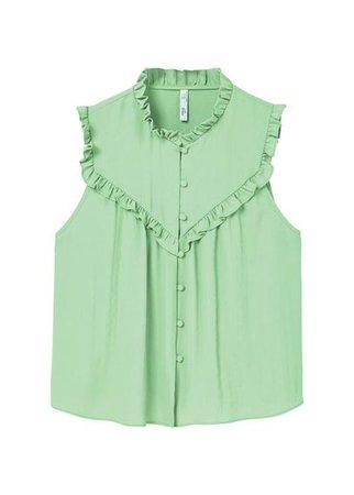 MANGO Funnel neck ruffled blouse