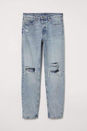 Boyfriend Low Ripped Jeans - Blue