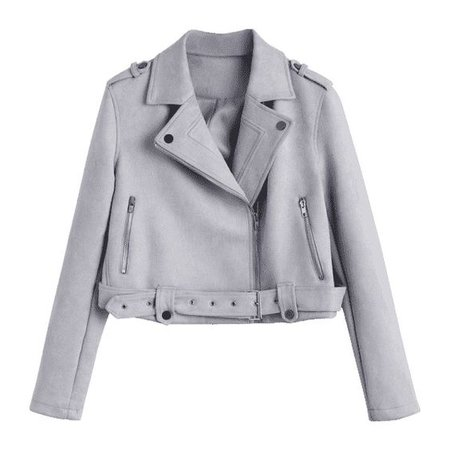 Belted Cropped Faux Suede Jacket