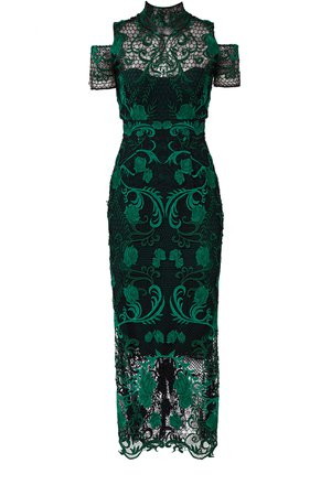 Green Lace Cocktail Dress by Marchesa Notte for $105 - $120   Rent the Runway