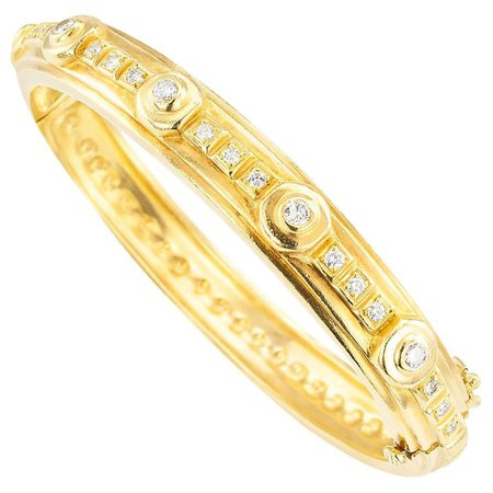 Doris Panos Diamond Yellow Gold Bangle Bracelet For Sale at 1stDibs