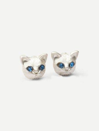 Cat Head Stud Earrings