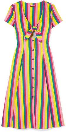 STAUD - Alice Tie-front Striped Stretch-cotton Poplin Dress - Pink
