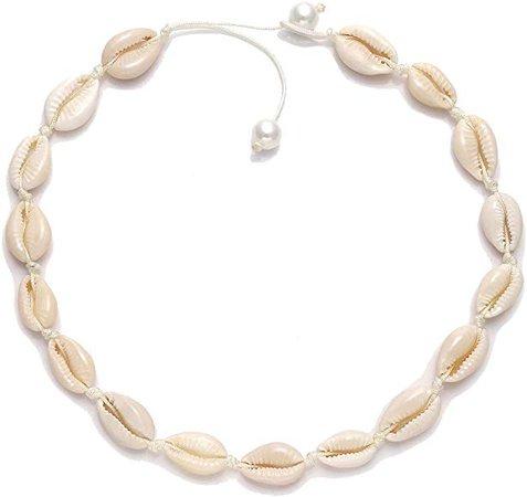 Amazon.com: HEIDKRUEGER Natural Shell Choker Necklace Handmade Adjustable Cowrie Collar Boho Hawaii Summer Beach Necklace for Women Girls (White Pearl): Jewelry