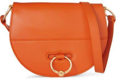 Latch Textured-leather Shoulder Bag - Orange