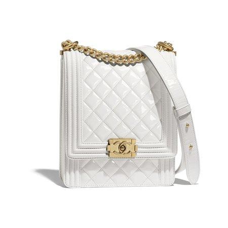 Patent Calfskin & Gold-Tone Metal White BOY CHANEL Handbag