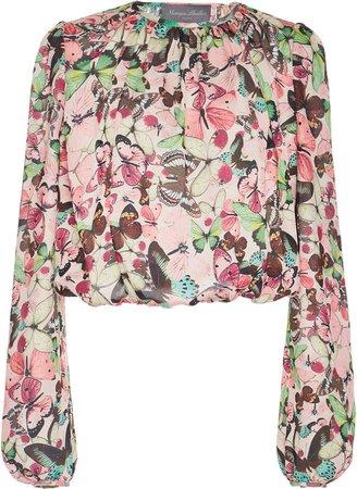 Cropped Floral-Print Chiffon Blouse