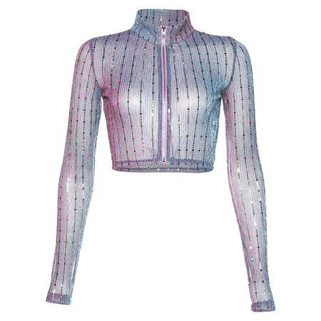 JESSICABUURMAN – RANKI See-Through Sequinned Cropped Top