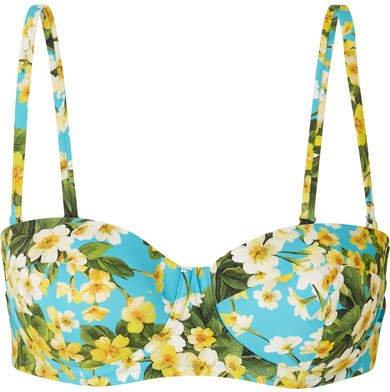 Floral-print Underwired Bikini Top - Light blue