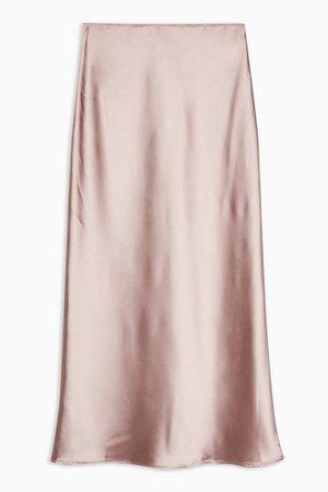 Dusty Pink Satin Bias Maxi Skirt   Topshop