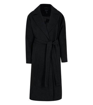 Black Drop Shoulder Belted Maxi Coat | New Look