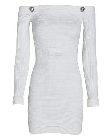Balmain Off-The-Shoulder Ribbed Mini Dress   INTERMIX®