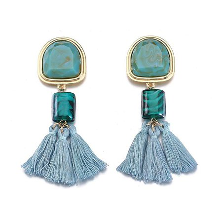 Blue Tassel Earrings, Bohemian Fringe Drop Dangle Earrings for Women Costume Jewelry: Clothing