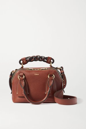Brown Daria small textured and smooth leather tote   Chloé   NET-A-PORTER