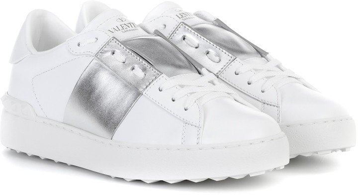 Open metallic leather sneakers