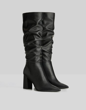 High heel slouched boots - Shoes - Woman | Bershka