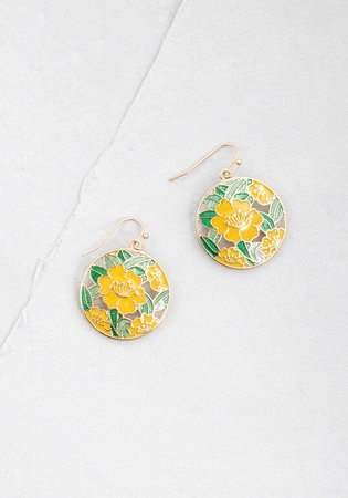 I Think You're Blossom Dangle Earrings Yellow | ModCloth