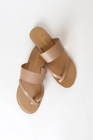 Cute Nude Sandals - Nude Flat Sandals - Toe-Thong Sandals