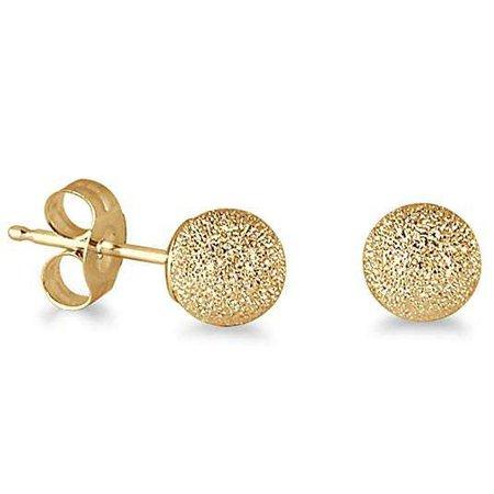 Amazon.com: 14K Yellow Gold 4mm Laser Cut Ball Stud Earrings: Jewelry