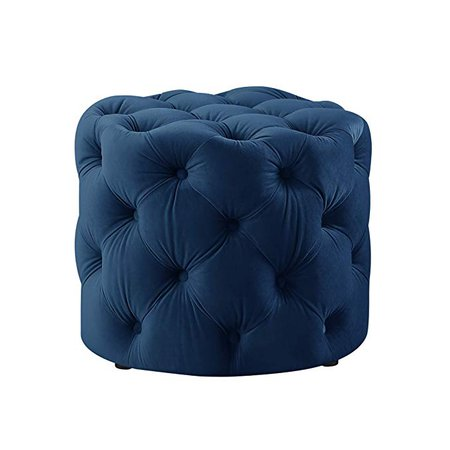 Amazon.com: Luxe-Living Inspired Home Velvet Ottoman, 20.5 Inches L by 20.5 Inches W by 17 Inches H, Allover Tufted, Modern Contemporary, Navy: Kitchen & Dining